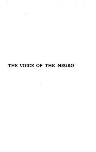 The voice of the Negro, 1919.