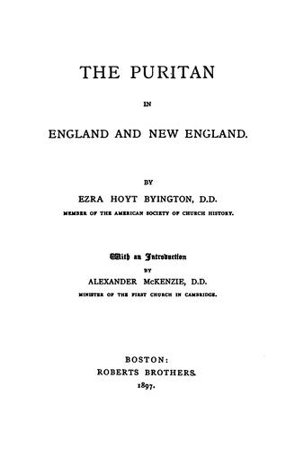 Download The Puritan in England and New England.