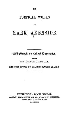 The poetical works of Mark Akenside.