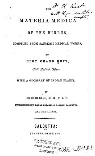Download The materia medica of the Hindus