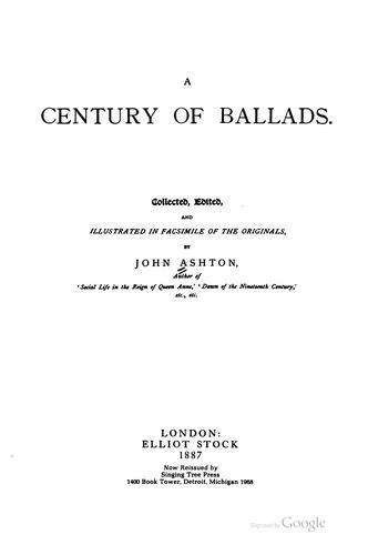 Download A century of ballads
