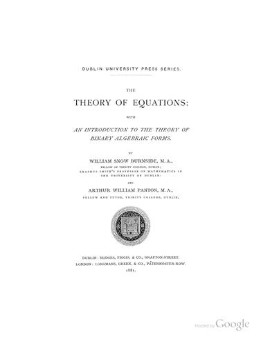 Download The theory of equations