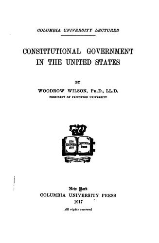 Download Constitutional government in the United States.