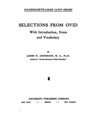 Selections from Ovid.