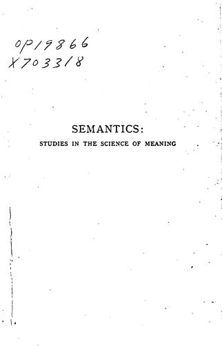 Download Semantics: studies in the science of meaning
