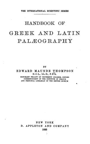 Download A handbook of Greek and Latin palaeography.
