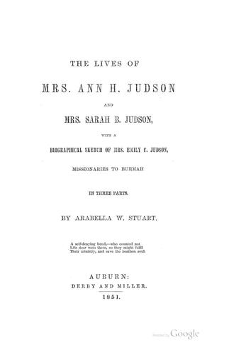 Download The lives of Mrs. Ann H. Judson and Mrs. Sarah B. Judson