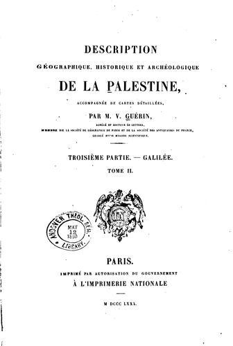 Download Description géographique, historique et archéologique de la Palestine.
