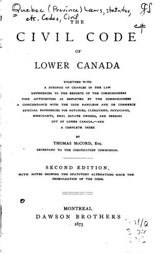 The civil code of Lower Canada