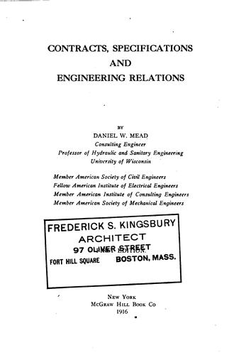 Contracts, specifications, and engineering relations.