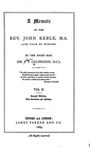 Download A memoir of the Rev. John Keble …