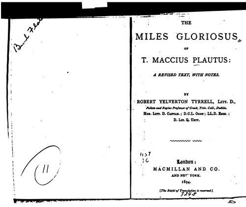 Download The Miles gloriosus of T. Maccius Plautus