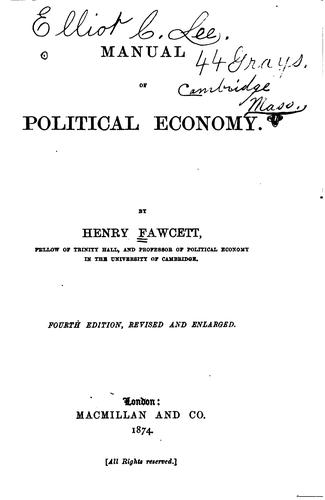Download Manual of political economy.