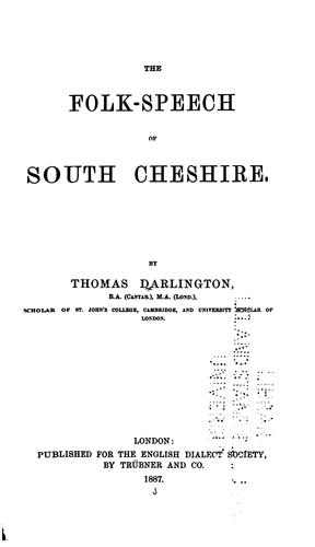 Download The folk-speech of south Cheshire.