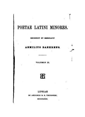 Download Poetae latini minores.