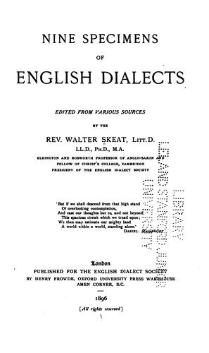 Download Nine specimens of English dialects
