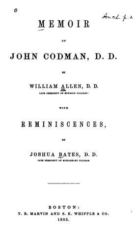 Download Memoir of John Codman, D. D.