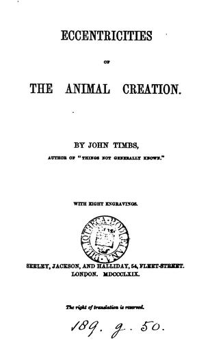 Download Eccentricities of the animal creation.