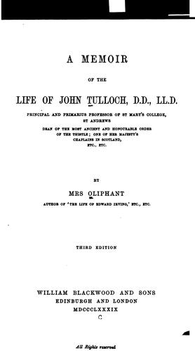A memoir of the life of John Tulloch …