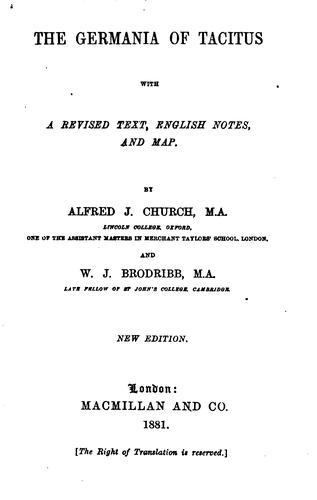 Download The Germania of Tacitus