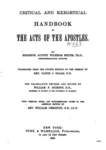 Critical and exegetical handbook to the Acts of the Apostles.