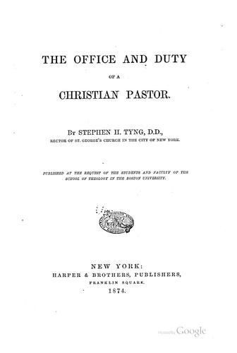 Download The office and duty of a Christian pastor.