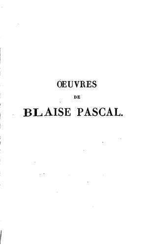 Œuvres de Blaise Pascal.
