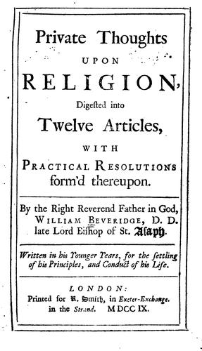 Download Private thoughts upon religion