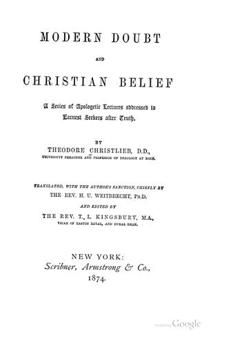 Download Modern doubt and Christian belief.