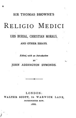 Sir Thomas Browne's Religio medici