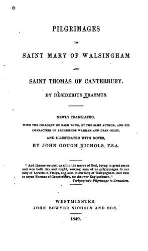 Download Pilgrimages to Saint Mary of Walsingham and Saint Thomas of Canterbury.