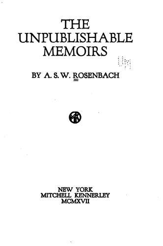 Download The unpublishable memoirs