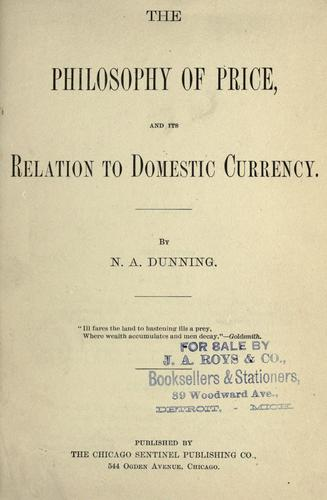 The philosophy of price, and its relation to domestic currency.