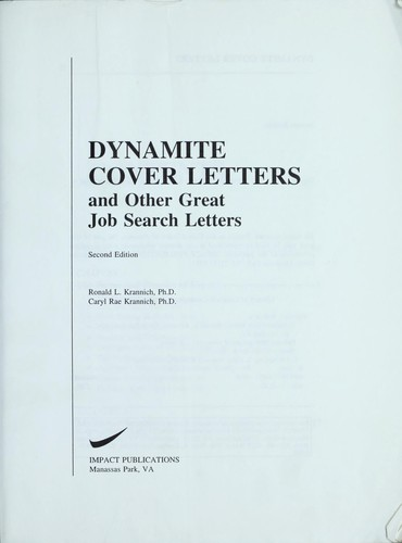 Dynamite cover letters and other great job search letters by Ronald L. Krannich