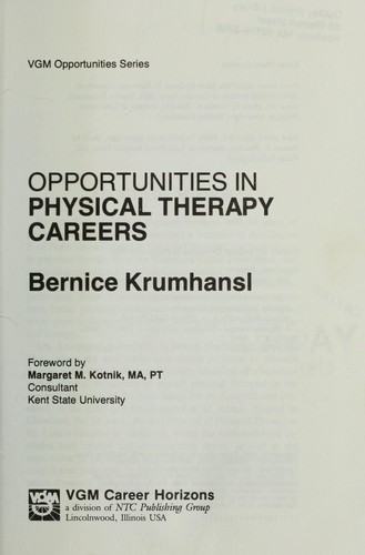 Download Opportunities in physical therapy careers