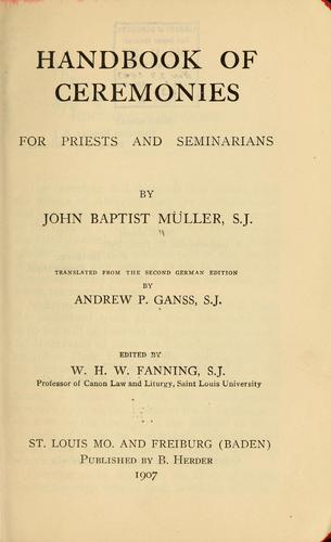 Handbook of ceremonies for priests and seminarians