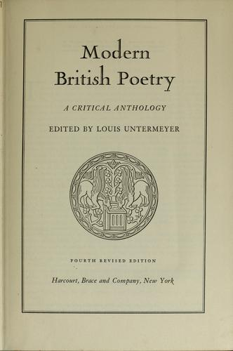 Download Modern British poetry