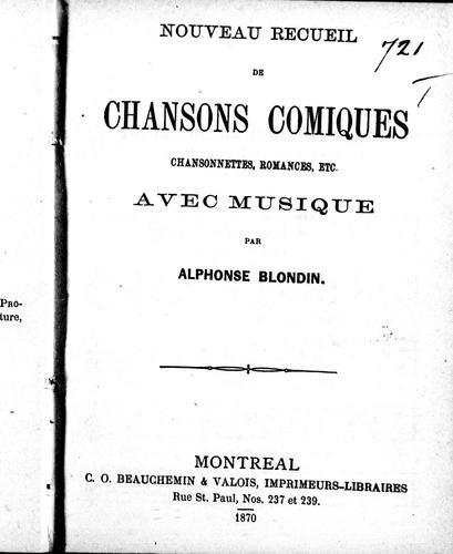 Download Nouveau recueil de chansons comiques