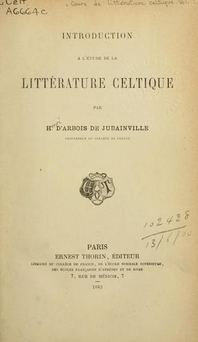 Download Cours de littérature celtique.