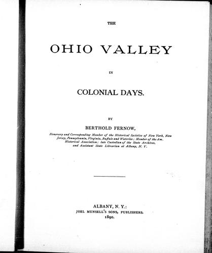 The Ohio Valley in colonial days
