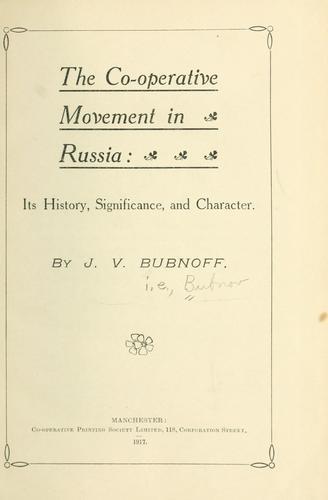 Download The co-operative movement in Russia