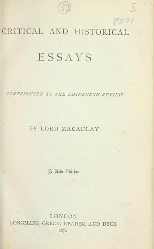 Critical and historical essays contributed to the Edinburgh review.