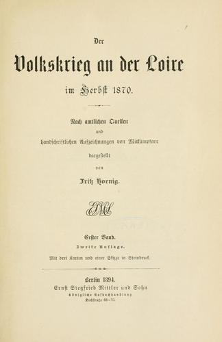 Download Der Volkskrieg an der Loire im Herbst 1870