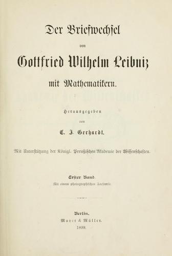 Download Der Briefwechsel von Gottfried Wilhelm Leibniz mit Mathematikern.