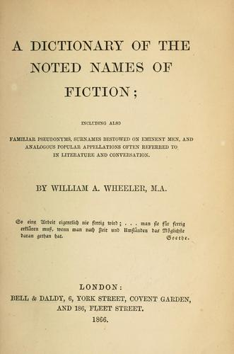 Download A dictionary of the noted names of fiction