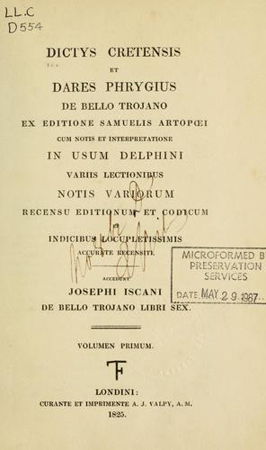 Download Dictys Cretensis et Dares Phrygius De bello Trojano
