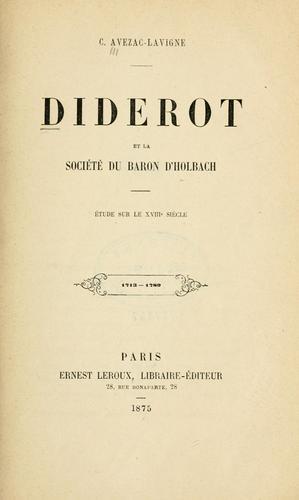 Download Diderot et la société du Baron d'Holbach