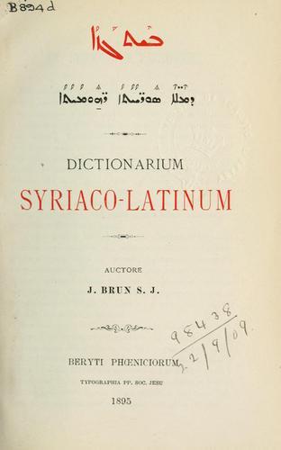Dictionarium Syriaco-Latinum.