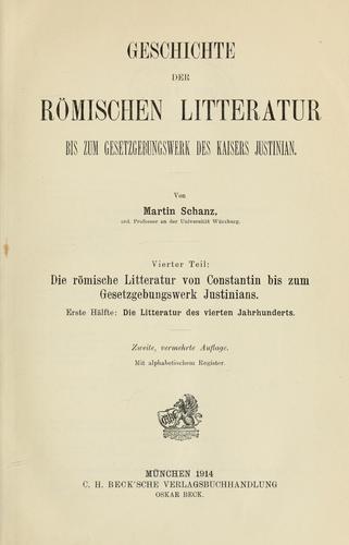 Geschichte der römischen litteratur bis zum gesetzgebungswerk des kaisers Justinian