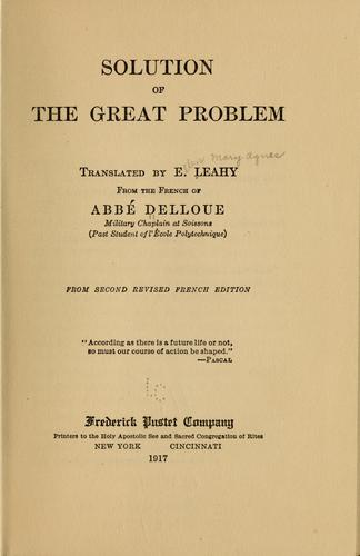 Download Solution of the great problem